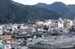 道の駅「日和佐」方面を薬王寺さんから眺めた景色